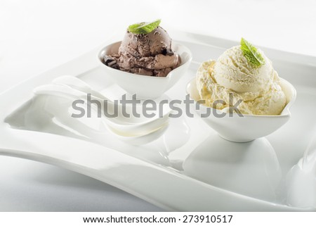 Ice cream in bowl on white background - stock photo