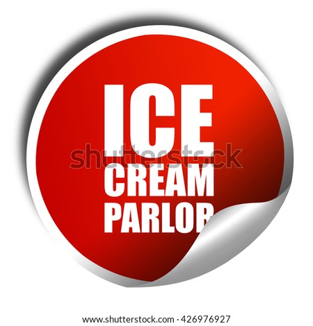ice cream parlor, 3D rendering, a red shiny sticker - stock photo