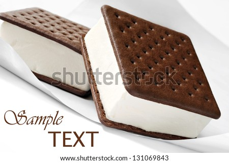 Ice cream sandwiches on freezer paper.  Macro with shallow dof. - stock photo