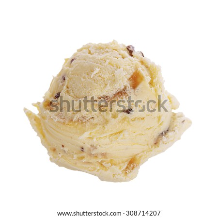 Ice Cream Scoop with Chocolate Chips and Caramel - stock photo