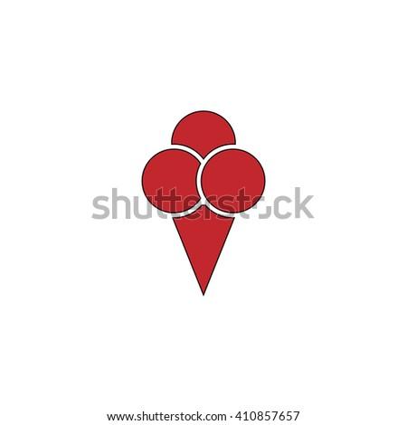 Ice cream Simple red icon on white background. Flat pictogram - stock photo