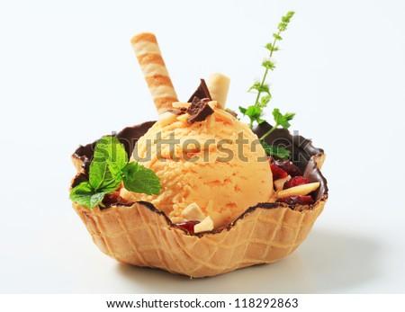Ice cream sundae in a wafer bowl  - stock photo