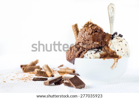 Ice cream with chocolate and stracciattela flavor in the bowl,selective focus and blank space - stock photo