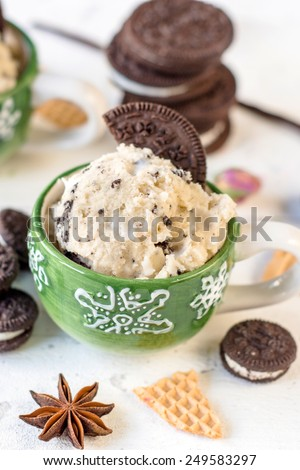 Ice cream with cookies flavor in the cup,selective focus - stock photo
