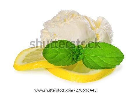 Ice cream with fresh lemon - stock photo