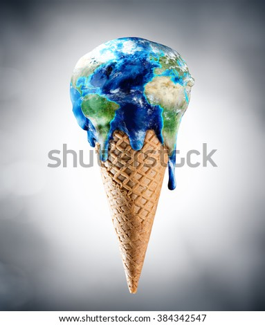 Ice Cream World - Climate Change Concept - elements of this image furnished by NASA  - stock photo