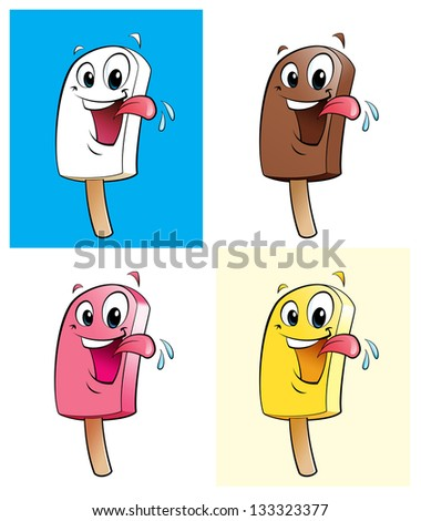 Ice creams in 4 colors / flavors - stock photo