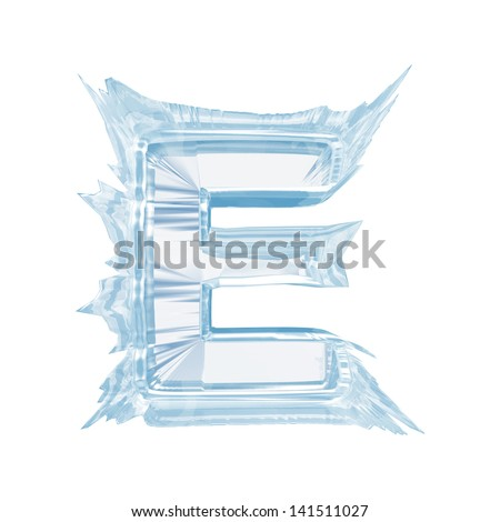 Ice crystal  font. Letter E.Upper case.With clipping path  - stock photo