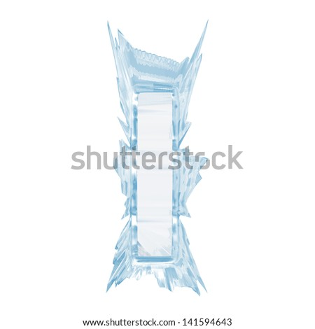 Ice crystal  font. Letter I.Upper case.With clipping path  - stock photo