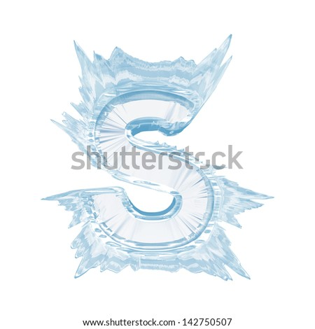 Ice crystal  font. Letter S.Upper case.With clipping path  - stock photo