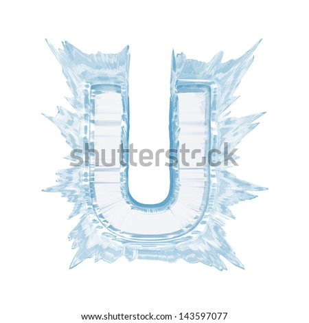 Ice crystal  font. Letter U. Upper case.With clipping path  - stock photo