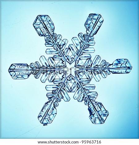 ice crystal snowflake macro - stock photo