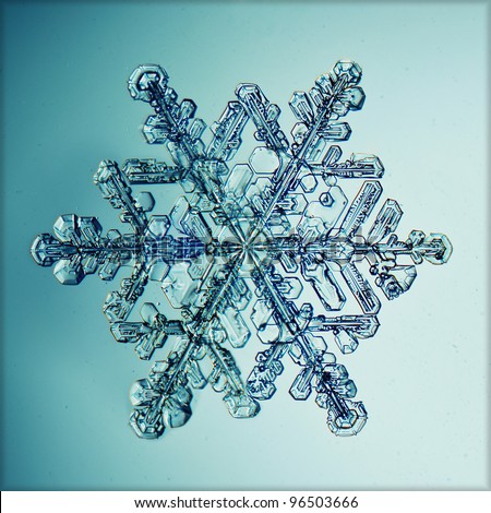 ice crystal snowflake macro - stock photo