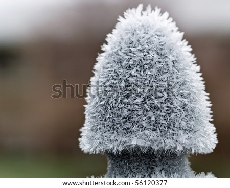 Ice Crystals on Metal in the Early Morning With a Shallow Depth of Field - stock photo