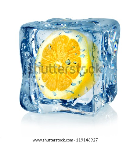 Ice cube and lemon isolated on a white background - stock photo