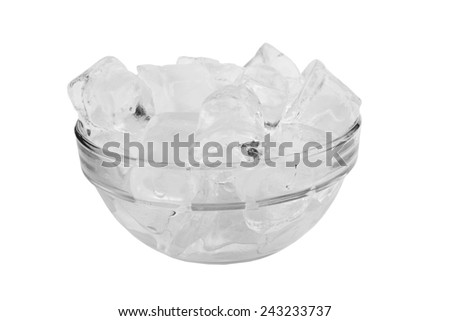 Ice cube in the bowl isolated on white background - stock photo