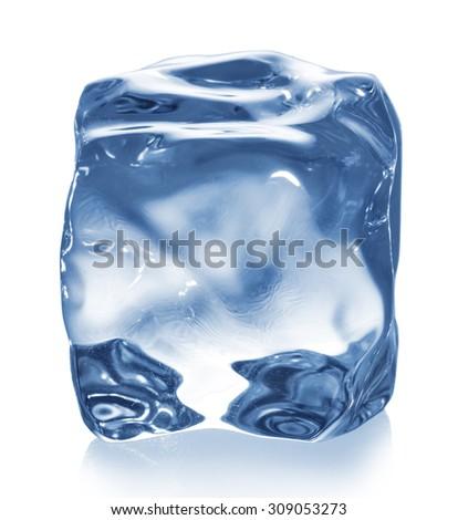 Ice cube isolated on white. - stock photo