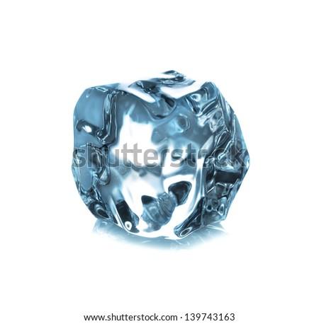 ice cube isolated on white background closeup - stock photo