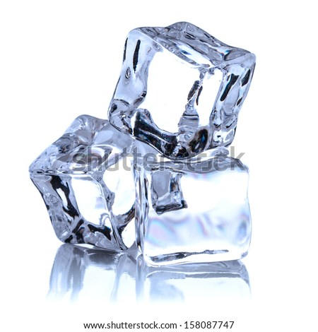 Ice cube isolated on white background cutout - stock photo