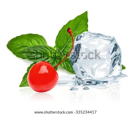 Ice cube,maraschino cherry and basil leaves on white background - stock photo