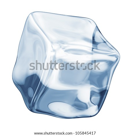 ice cube on a white background - stock photo