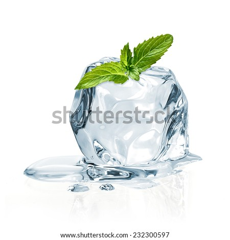 Ice cubes and mint leaves on a white background with clipping path  - stock photo