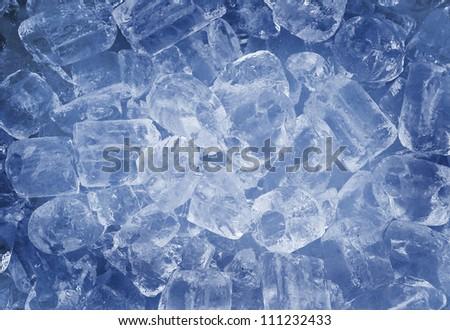 ice cubes blue style background - stock photo