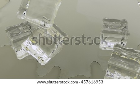 ice cubes falling 3d render - stock photo