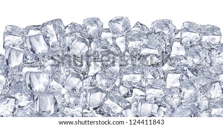 Ice cubes. File contains two clipping path - to the front and the back. - stock photo