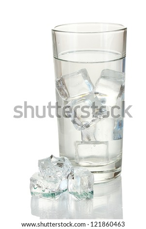 Ice cubes in glass isolated on white - stock photo