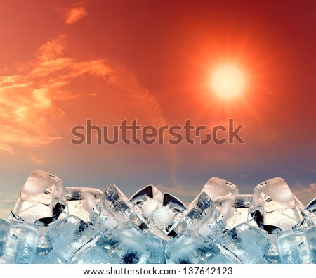 ice cubes in red sky - stock photo