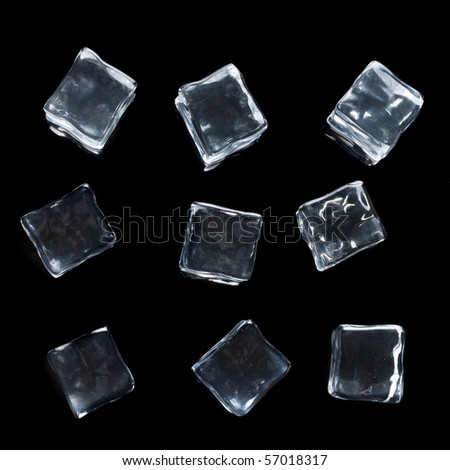 ice cubes isolated on black - stock photo