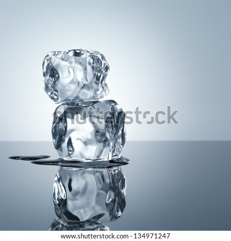 ice cubes minimalistic background - stock photo