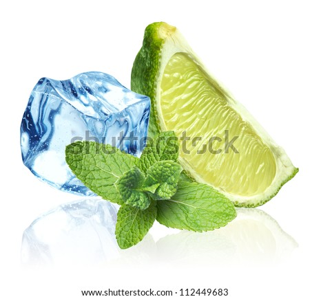 Ice cubes, mint leaves and lime on a white background - stock photo