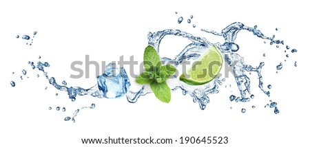 Ice cubes, mint leaves, lime and water splash on a white background. Mojito. - stock photo