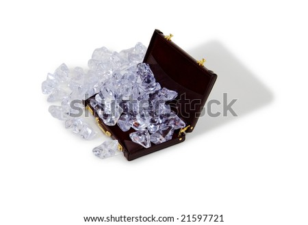 Ice cubes of frozen water used to cool liquids Burgundy leather Briefcase used to carry items to the office - stock photo