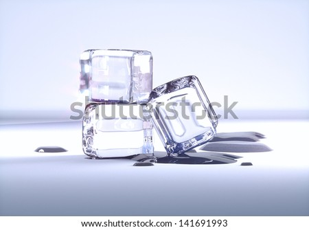 ice cubes on a light background - stock photo