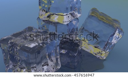 ice cubes stacked together 3d render - stock photo