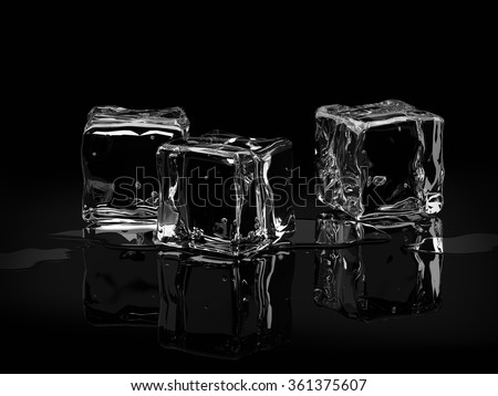 Ice cubes with drops of water on black background.3D render - stock photo