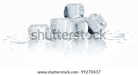 ice cubes with water - stock photo