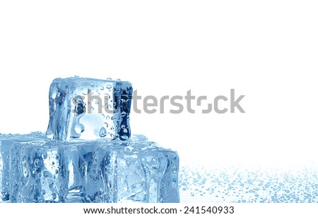 Ice cubes with water drops on the white background - stock photo