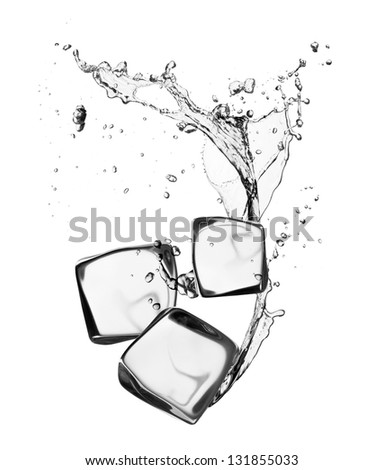 Ice cubes with water splash, isolated on white background - stock photo