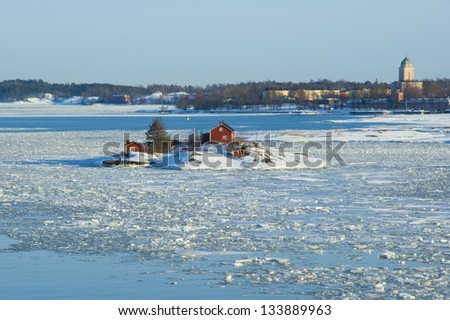 Ice drift in the Baltic sea (near Helsinki, Finland) - stock photo