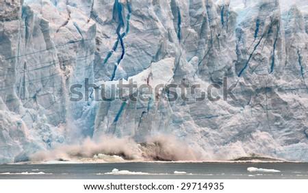 Ice Falling Off Glacier Perito Moreno - stock photo