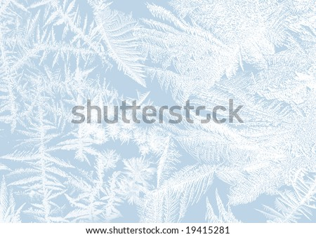 Ice-flower frosting on a window in soft pastels - stock photo