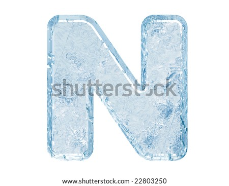 Ice font. Letter N.Upper case.With clipping path. - stock photo