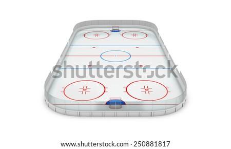 Ice hockey area on a white background. 3d illustration. - stock photo