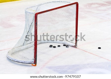 ice hockey net - stock photo