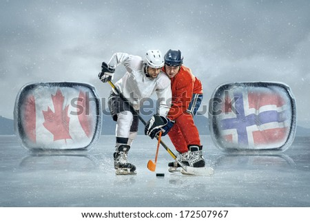 Ice hockey players on the ice. Game between Canada and Norway - stock photo
