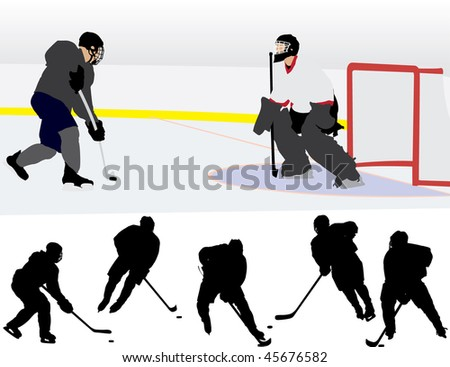 Ice Hockey Silhouettes - raster version - stock photo